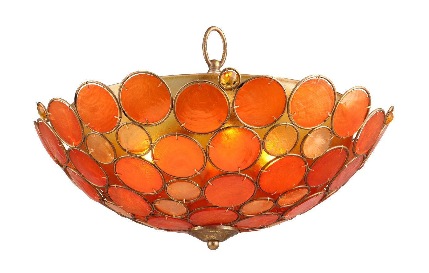OK LIGHTING OK-5119-H1 H Capiz Shell Ceiling Lamp, 11-Inch, Antique Copper