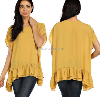 Solide tiered ruche zoom chiffon tuniek blouse, vrouwen casual blouse ontwerpen, laatste mode dames blouse