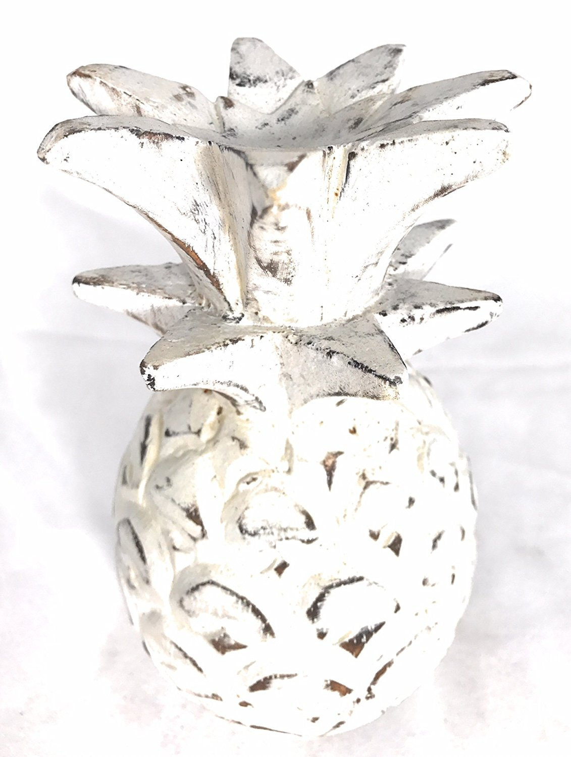 """Pineapple Rustic White Wash 7.5""""X4"""" Hand Carved Decorative 
