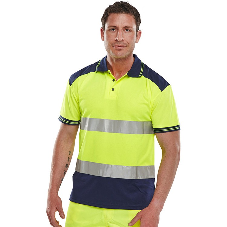 Hi Vis High Visibility Two Tone Navy Short Sleeve Safety Work Polo T Shirt