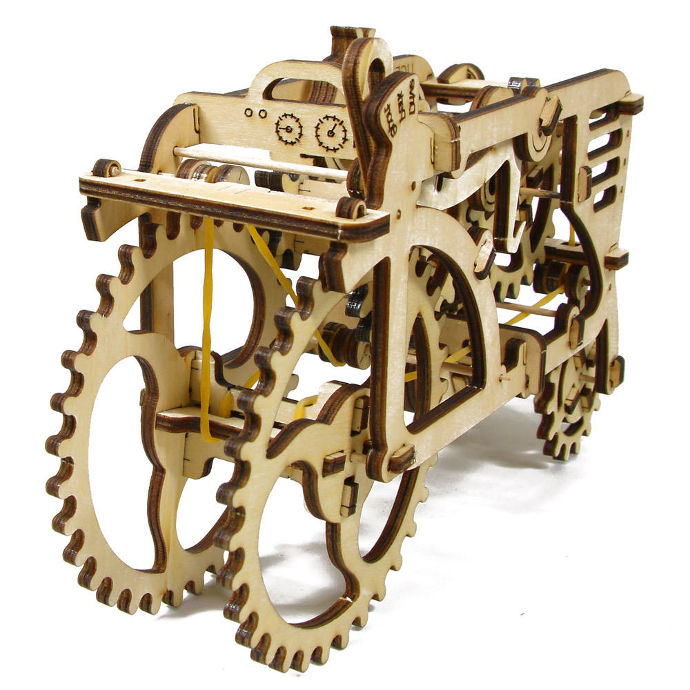 2017 New Gadget 3D Puzzle Mechanical Model TRACTOR Toy Wooden DIY Construction Kit Wood Craft Moving Model