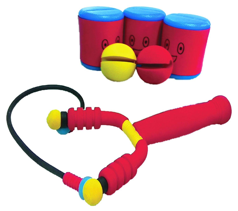 Soft Catapult Foam Strike Pocket Shot, Foam Ball Shooter Set, (1 Pocket Shot, 2 Balls and 3 Amusing Cans)