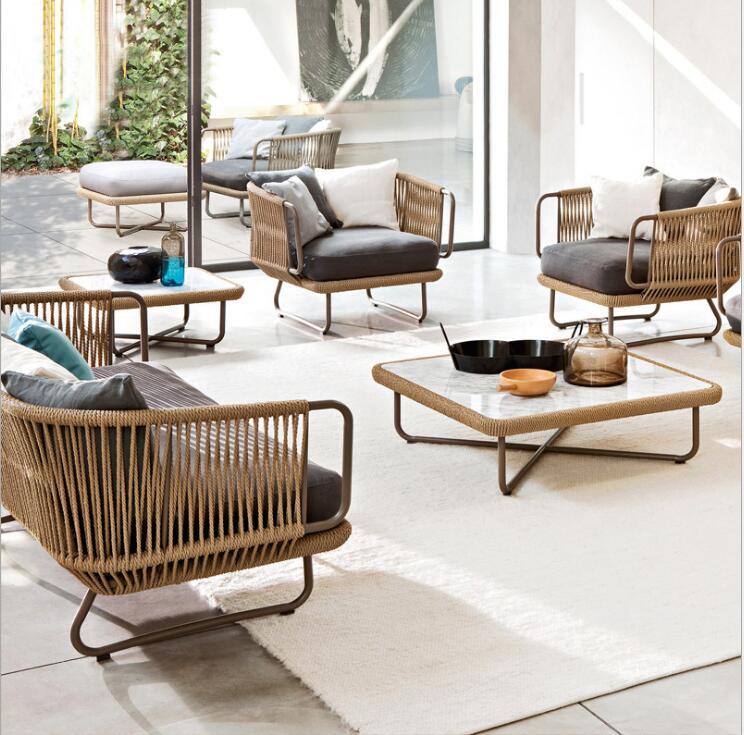 Luxury Italian New Design Outdoor Furniture Modern Strap Rope Sofa