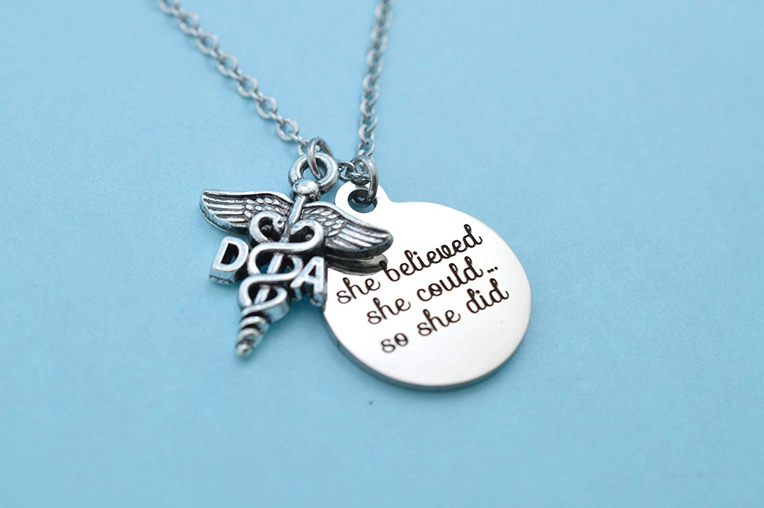 """Get Quotations · Dental Assistant Graduation Gift Necklace with stainless steel word tag that reads""""She Believed She"""