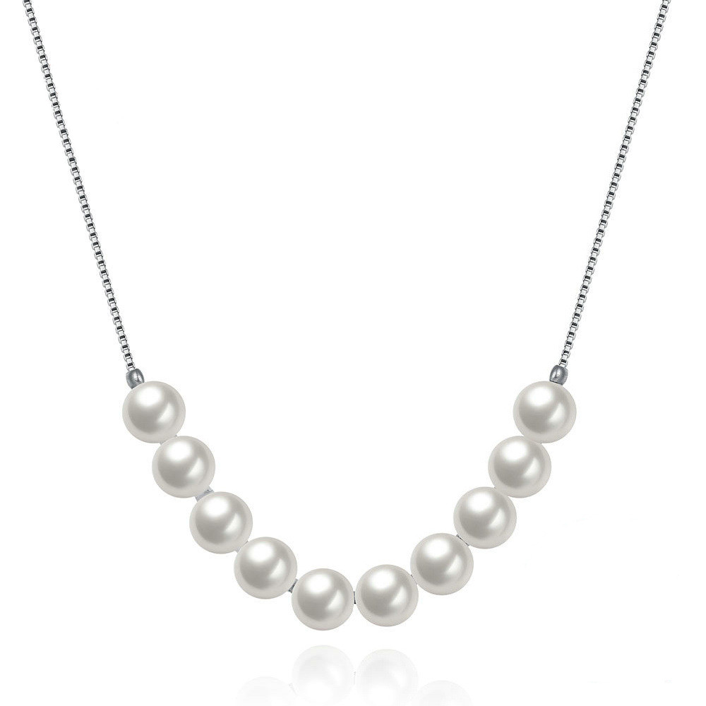latest women sterling silver necklace pearl 10 piece shell bead necklace