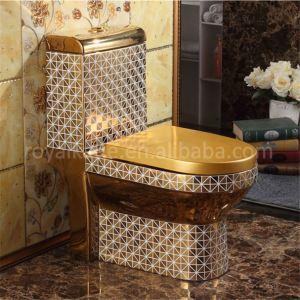 bathroom ceramic one-piece glass toilet bowl gold color toilet for home