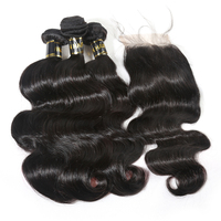 JP Hair Hot Sale Virgin Hair Bundles With Closure Middle Part Three Ways Part Free Part Lace Closure