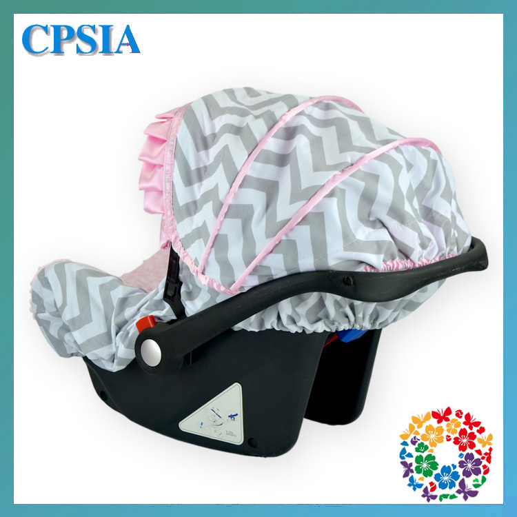 2015 Fancy Car Seat Cover Grey Chevron Baby Car Seat Cover