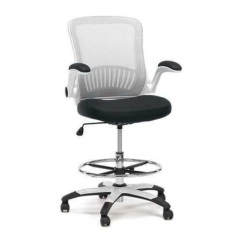 Linear Vertical Mesh Drafting Stool with Flip Arms White Vertical Mesh Back/Black Fabric Mesh Seat/White Frame