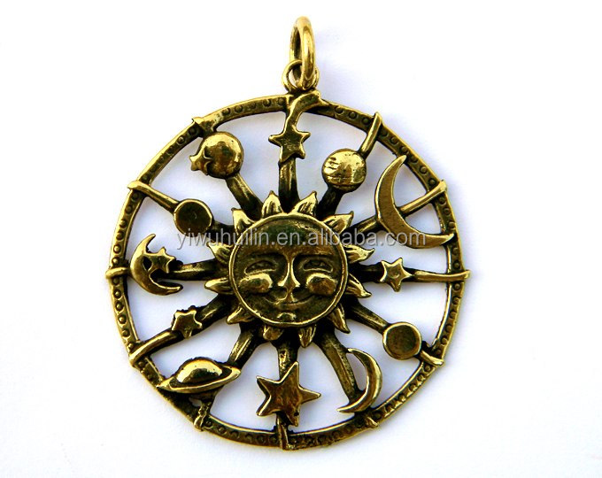 HK 147 Yiwu Huilin jewelry Sun and Other planets star moon antique bronze galaxy charm pendant