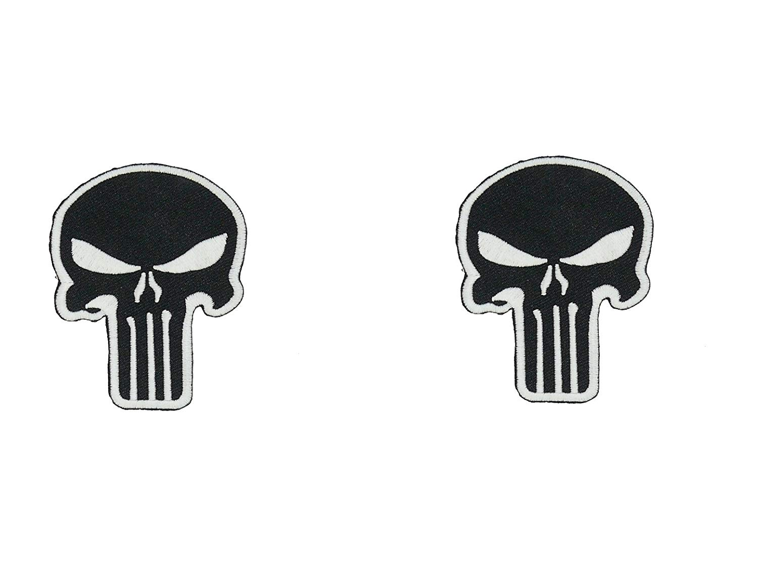 Punisher Skull Patch GLOW IN THE DARK Halloween Costume Jacket Shirt Hat Cap Embroidery Set of 2 Patch Easy Iron/Sew On