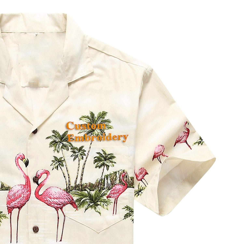 55945c01 Get Quotations · Made in Hawaii Men's Hawaiian Shirt Aloha Shirt Pink  Flamingos Cream