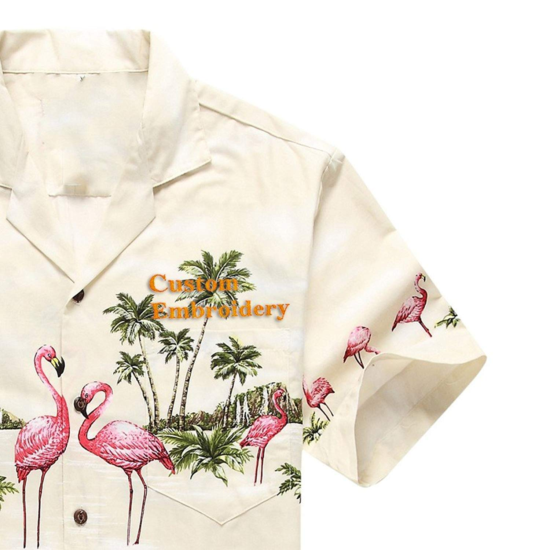 0e79a722 Get Quotations · Made in Hawaii Men's Hawaiian Shirt Aloha Shirt Pink  Flamingos Cream