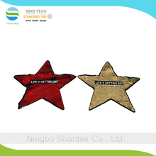 Double color flip Embroidered sequins cheap star sequen patches for decorate