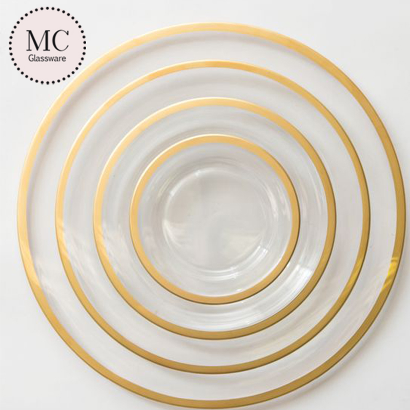 Clear gold rim cheap bulk wedding charger plates wholesale