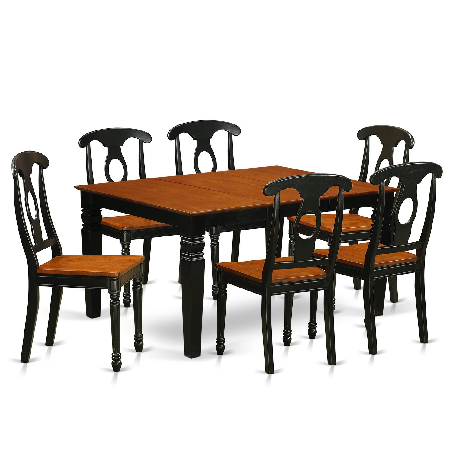 East West Furniture Weston WEKE7-BCH-W 7 Pc Set with a Kitchen Table and 6 Wood Dining Chairs, Black
