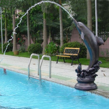 Hot sale factory supplied swimming pool decoration stone outdoor dolphin water fountain buy for Poole dolphin swimming pool prices