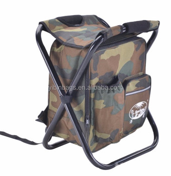 Camping Hunting Fishing Backpack Folding Stool with Cooler Bag
