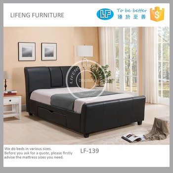 Upholstery Pu Leather Bed With Drawer Cup Holders