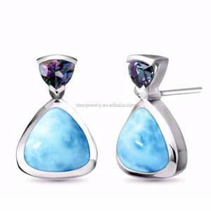 Hot Selling Drop Earrings Jewelry Synthetic Natural Larimar Gemstone And Amethyst 925 Sterling Silver For Gift DR03324155E