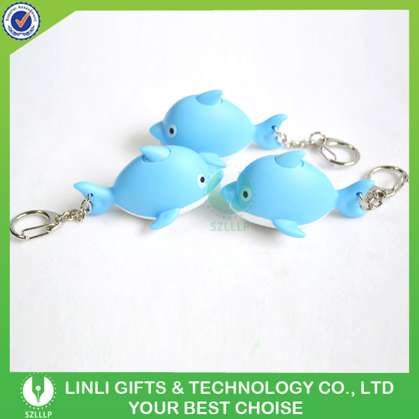 Promotion Rubber Finishing Cute Animal Led Sound Light Key Chain