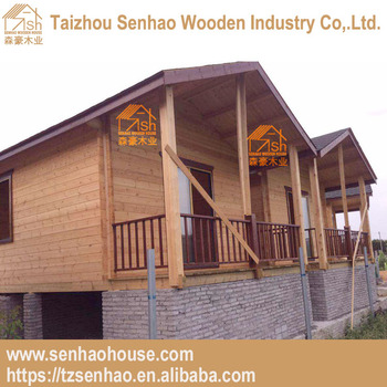 Low Cost Prefabricated Wooden Cabin With Terrace Wood House