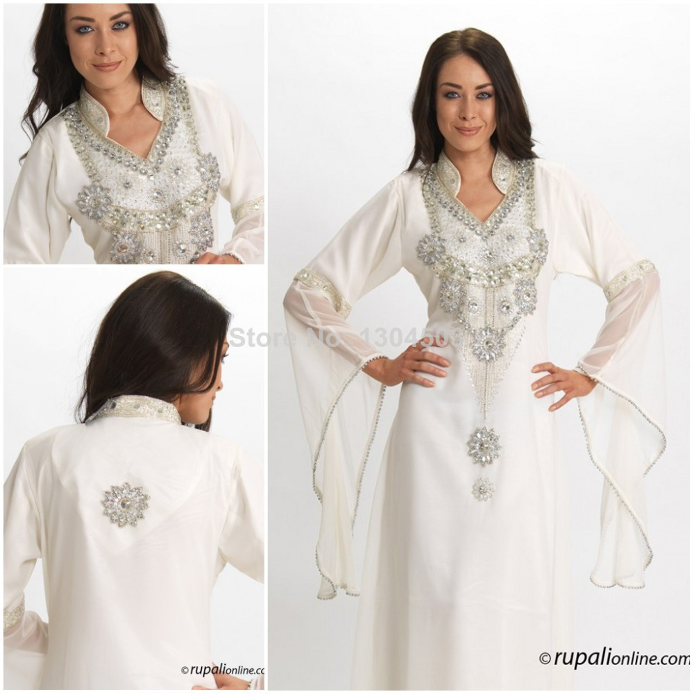 Get Quotations · Dubai Kaftan 2015 New Fashion White Chiffon Straight  Jalabiya Dress Kaftan Dubai Long Sleeve Dress for 5fa3eeb12717