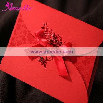 ACW1049 Chinese Red Handmade Wedding Anniversary Cards