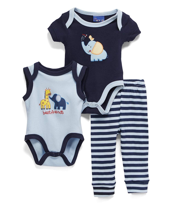 Get Quotations · Sweet   Soft Navy   Blue  Elephant  Stripe Bodysuit Set c0dc1d4eb