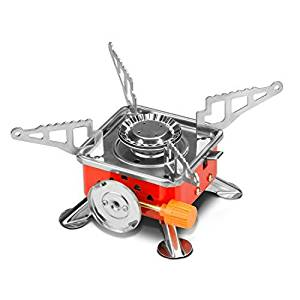 Etekcity E-gear Portable Collapsible Outdoor Backpacking Gas Camping Stove Burner (Orange) (Certified Refurbished)