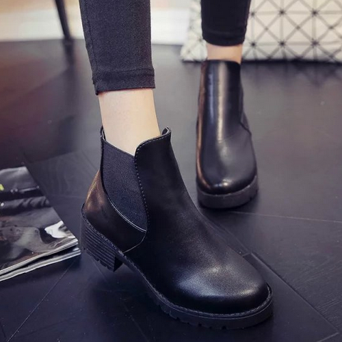 New trendy autumn fashion women shoes british style elegant rough heels casual ladies ankle boots