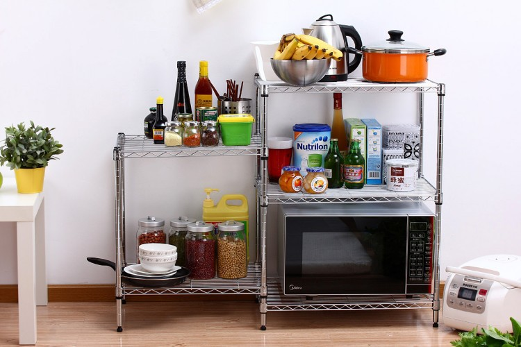 Chrome Plated Dismountable Kitchen Storage Racks Kitchen Wire Racks