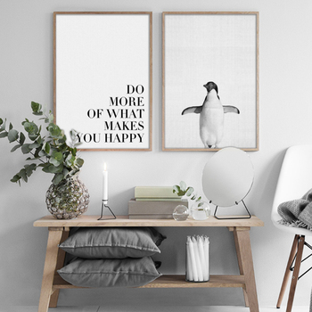 Penguin Landscape Canvas Paintings Abstract Black White Posters ...