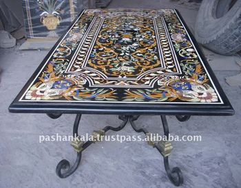 Intricate Marble Inlay Dining Table Top