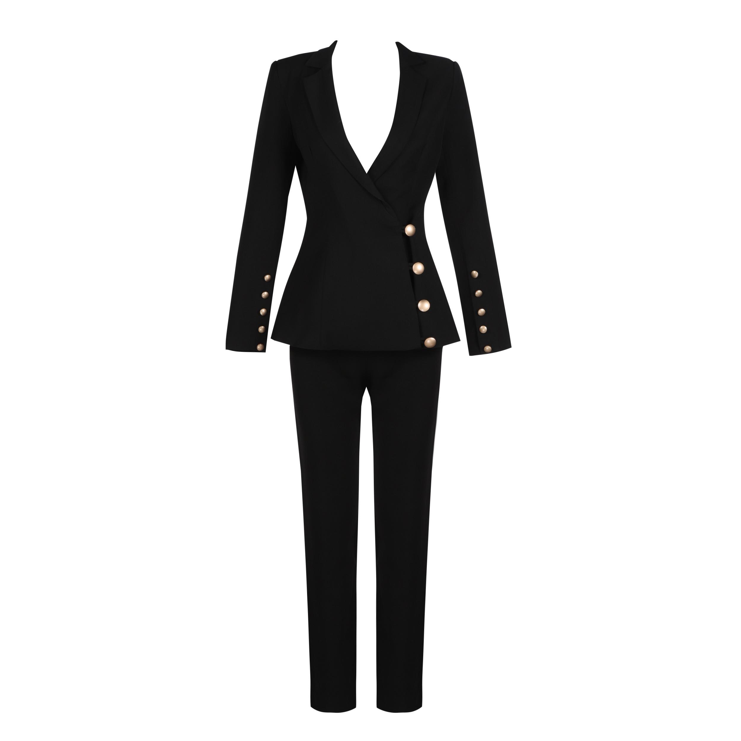 bb513257834 Оптовая продажа Модное зимнее пальто черный костюм из двух предметов женские  брюки костюм