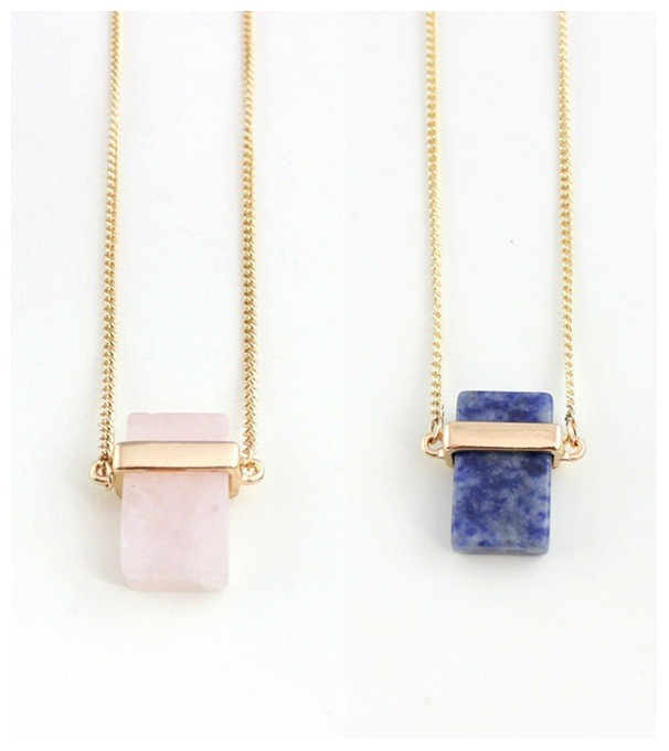 New Fashion Natural Link Cable 체인 금 Plated Rose Quartz 목걸이