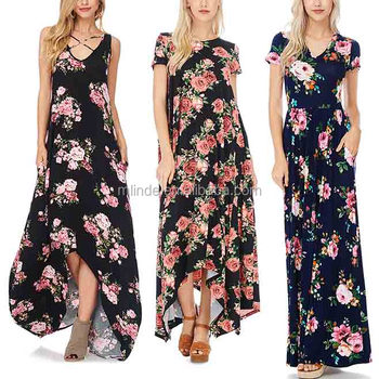 2017 women Wear dresses Navy / Black Floral Maxi Dresses women lady