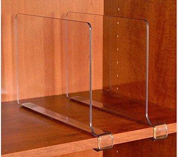 Acrylic Shelf Dividers Home Cabinet Handbag Clear Shelf