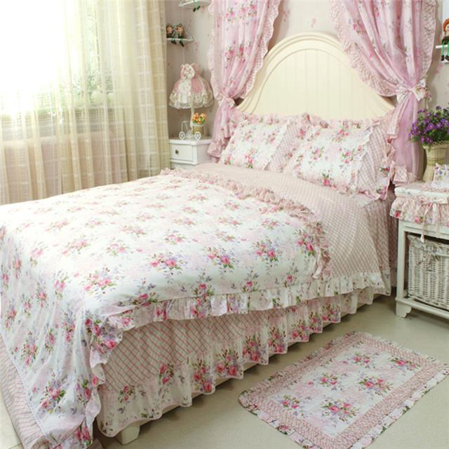 kaufen sie 4 teile satz pastoralen vintage bettw sche set f r hochzeit. Black Bedroom Furniture Sets. Home Design Ideas