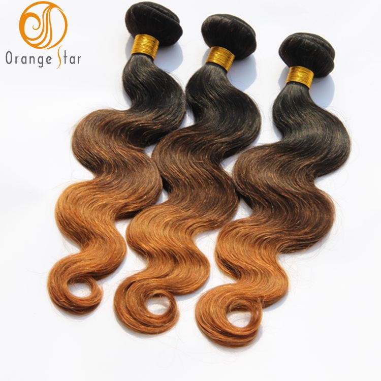 Three tone ombre hair weave wet and wavy human brazilian hair vendors