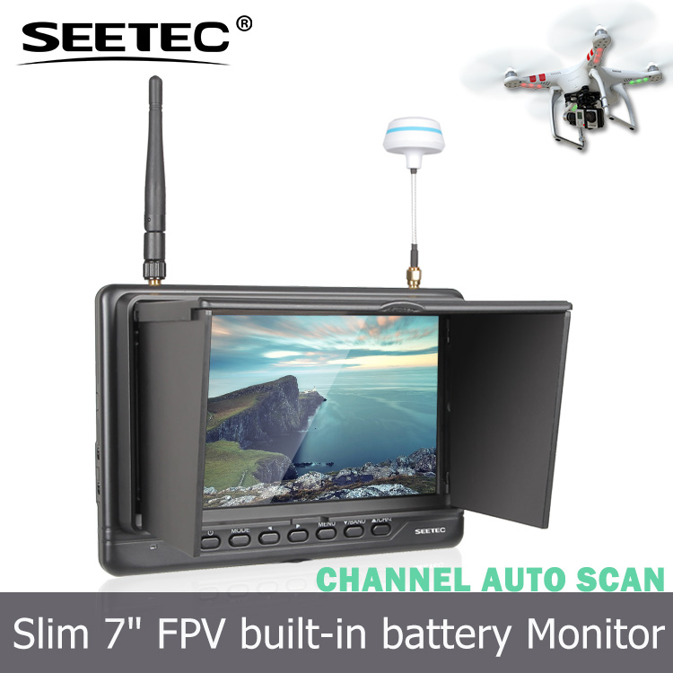 Seetec light weight 7 inch FPV lcd Monitor 5.8Ghz high resolution camera plane with Plastic Sunshade