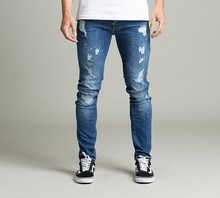Großhandel mode blau Zerrissene <span class=keywords><strong>jeans</strong></span> benutzerdefinierte Casual Herren Denim <span class=keywords><strong>Jeans</strong></span>