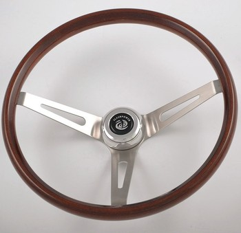 China 15 Classic Car Parts Polished Wood Steering Wheel With Horn