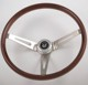 China 15'' Classic Car Parts Polished Wood Steering Wheel with Horn Button