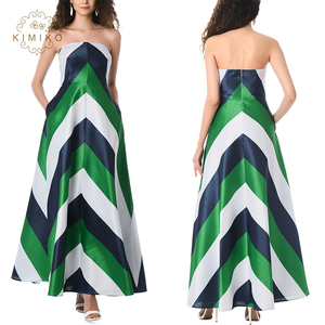 Woman Dress Summer 2018 Strappy Chevron Printed Maxi Dress