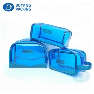 High quality clear pvc material travel toiletry cosmetic pouch makeup bag set