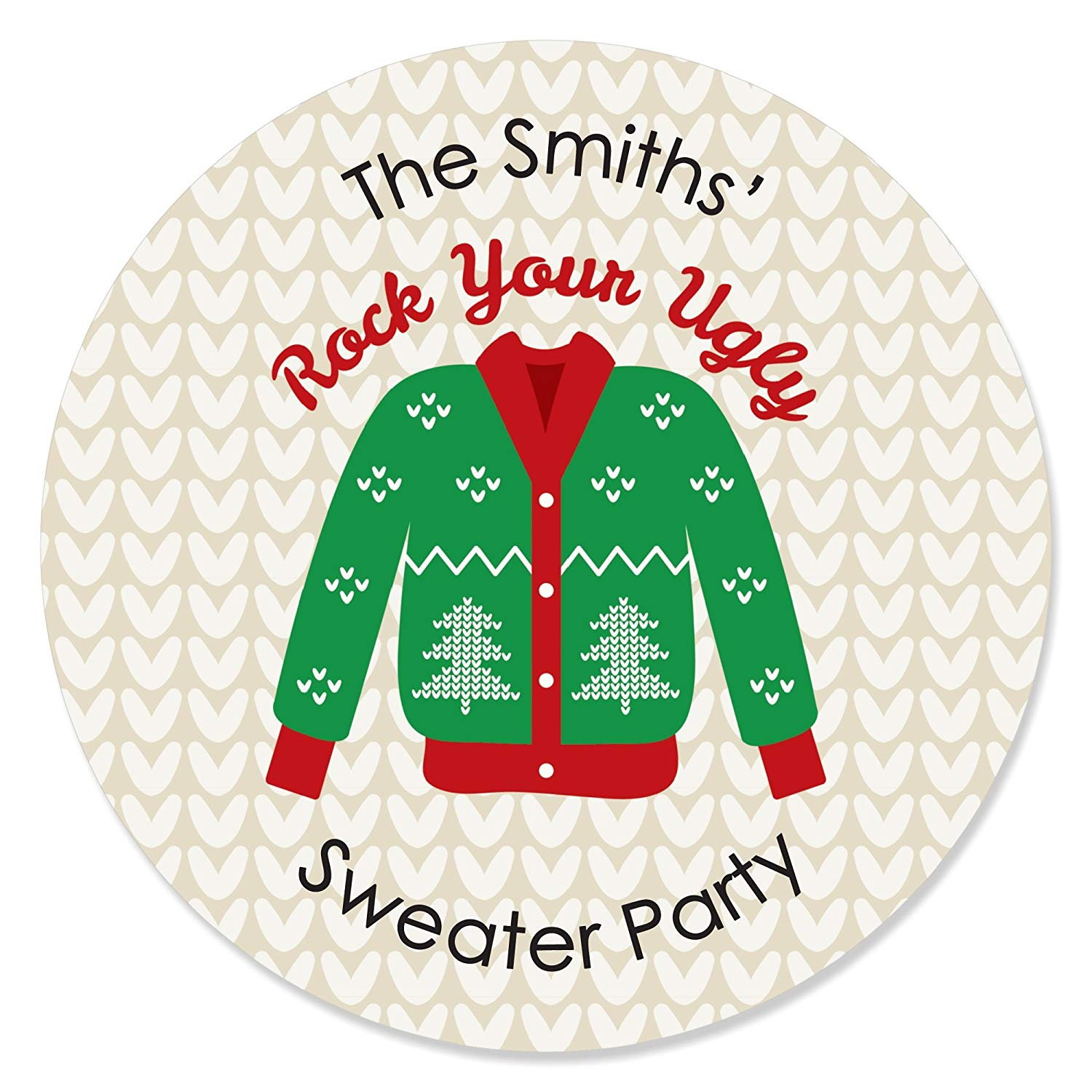 Get quotations · big dot of happiness personalized ugly sweater custom holiday christmas party favor circle sticker