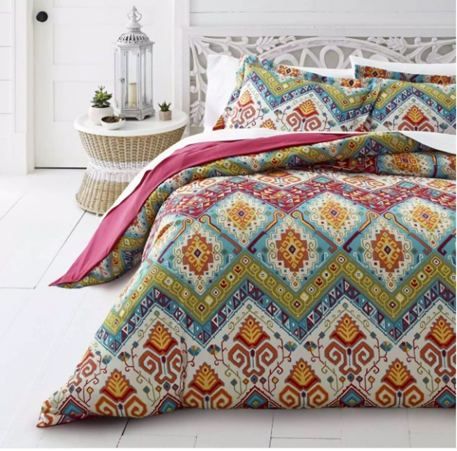 2 Piece Bohemian Moroccan Inspired Duvet Cover Set Twin Size, Featuring Reversible Colorful Geometric Medallion Diamond Design Bedding, Stylish Country Style Chic Bedroom Decor, Blue, Green, Multi