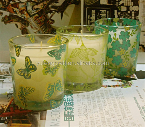custom design butterfly & flower glass tealight holders
