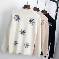 2019 fashinablel round neck lady Christmas winter sweater women high quality mohair jumpers knitted snowflake pullovers